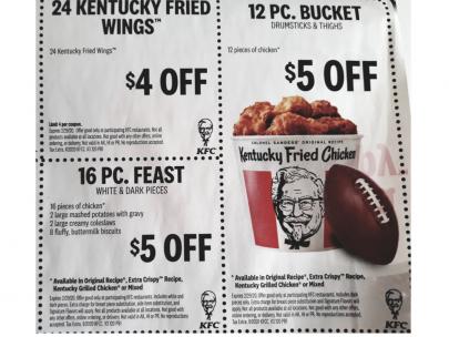 9 KFC (Kentucky Fried Chicken) coupons, expires 2/29/2020 ...